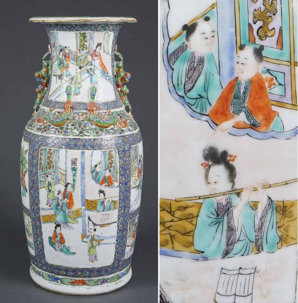 "VASE QUEUE DE PHENIX EN PORCELAINE A DECOR EMAILLE DANS LE STYLE DE LA ""FAMILLE…"