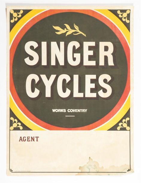SINGER CYLES - COVENTRY Iliffe & Son, Coventry et London. 100 x 77 cm Affiche d'agent…