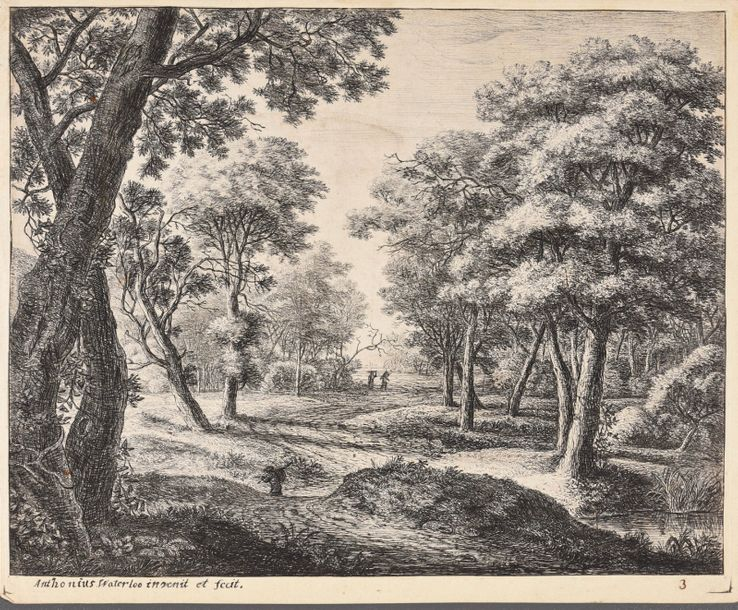 Waterloo, Anthonie WATERLOO, Anthonie 3 forest landscapes. Various sizes and con…