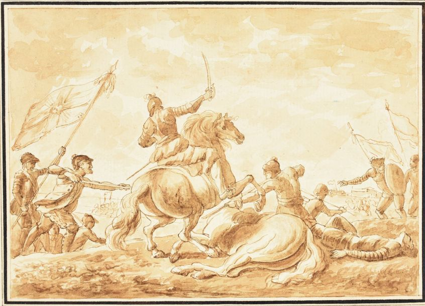 Battle field with cavalry. 17th c Drawing, pen with black and brown ink, brush a…