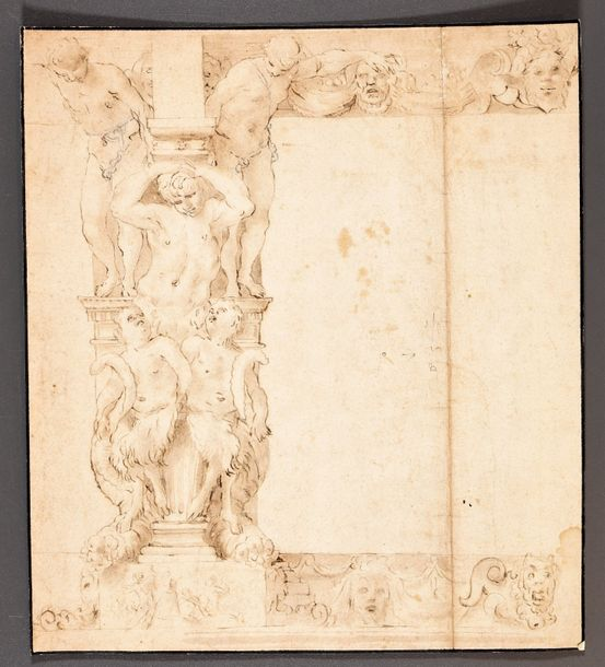 Design for an ornamental frame. Ca. 1530 1560 Drawing, pen and black ink with gr…
