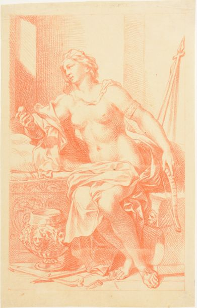 Diana. Late 18th c Drawing, red chalk (sanguine), 34 x 21,5 cm, laid paper with …