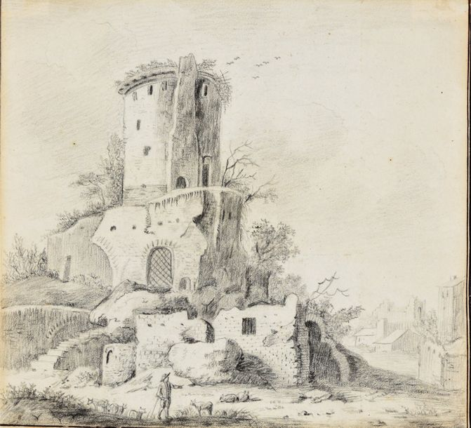 Landscape with castle ruin and cowherd. Ca. 1770 1820 Drawing, graphite, framing…
