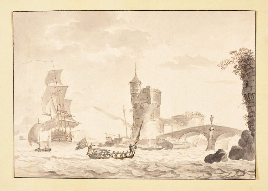 Seascape with ships and a castle. 1650 1720 Drawing, pen and brown ink, with gre…