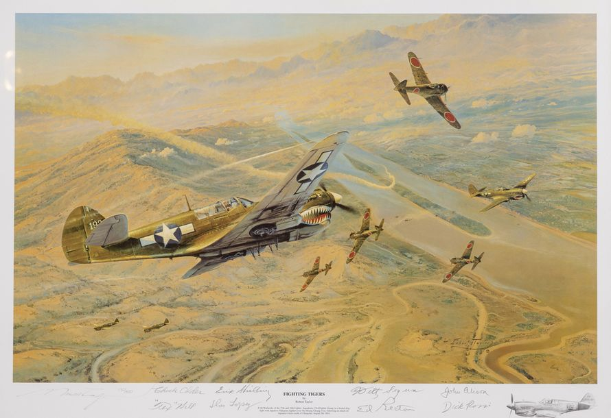 Taylor. (R.).  Tigres volants 1944. « Fighting tigers ». Lithographie en couleurs.…