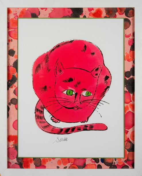 Andy WARHOL Andy WARHOL (D'après) Sam Red cat Offset lithographie Tampon de la f…