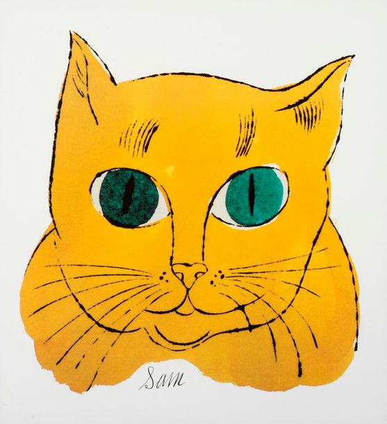 Andy WARHOL Andy WARHOL (D'après) Sam Yellow cat Offset lithographie Tampon de l…