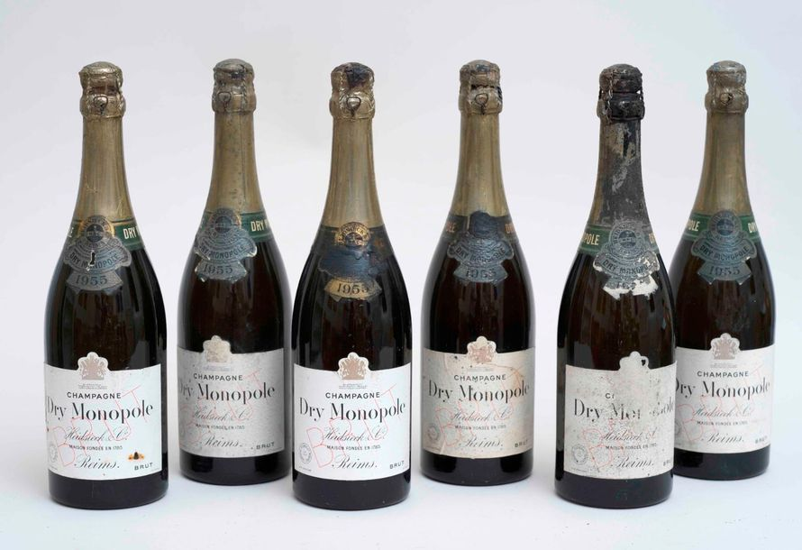 HEIDSIECK CHAMPAGNE 6 bouteilles CHAMPAGNE HEIDSIECK & CO 1955 Dry Monopole (niv…