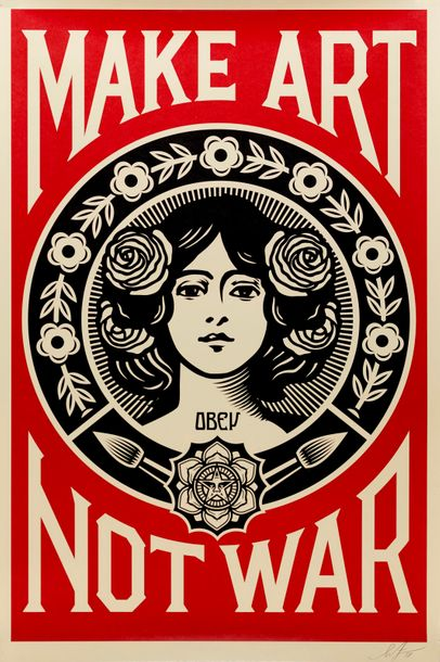 OBEY Shepard FAIREY dit OBEY (1970) Make Art Not War Affiche sérigraphique signé…