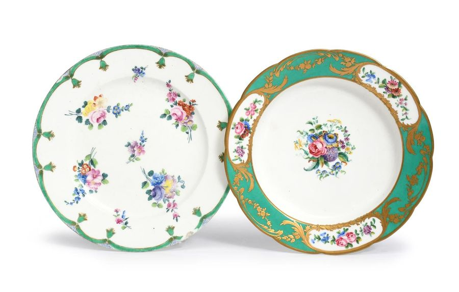 A Sèvres plate (assiette) c.1760 90, painted by Pierre Antoine Méreaud with spra…