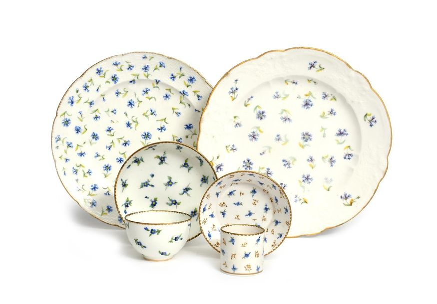 Two Sèvres plates (assiettes) and two cups and saucers c.1783 90, an assiette à …