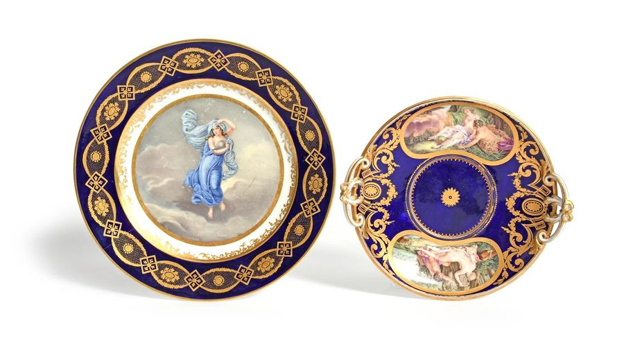 A Sèvres ecuelle stand (plateau nouvelle forme) date code for 1781, painted by C…