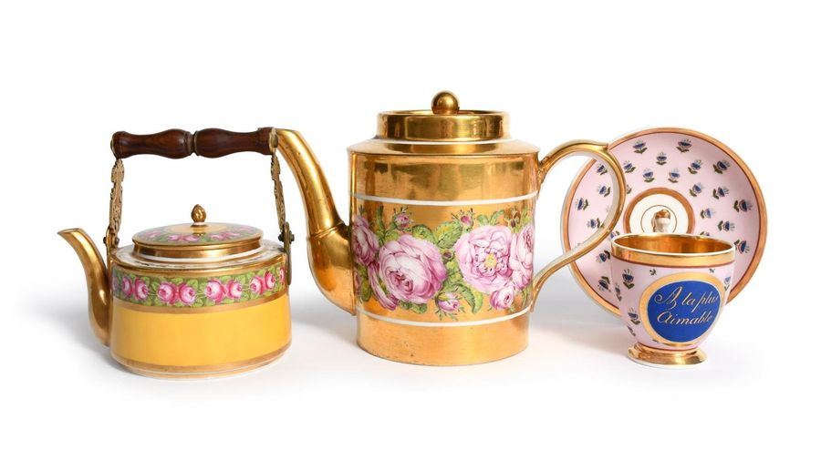 Two Paris porcelain teapots and covers 19th century, one Rue Thiroux and painted…