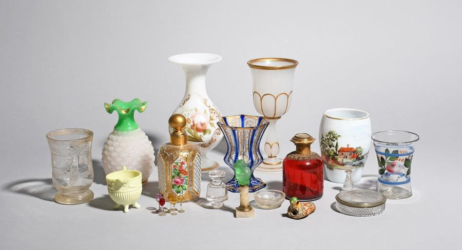 A mixed group of Continental and English glass mostly 19th century, including a …
