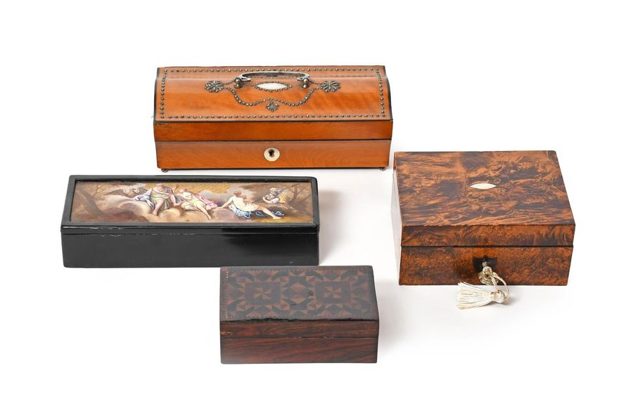 Four small sewing boxes 19th century, one French and decorated with a cut steel …
