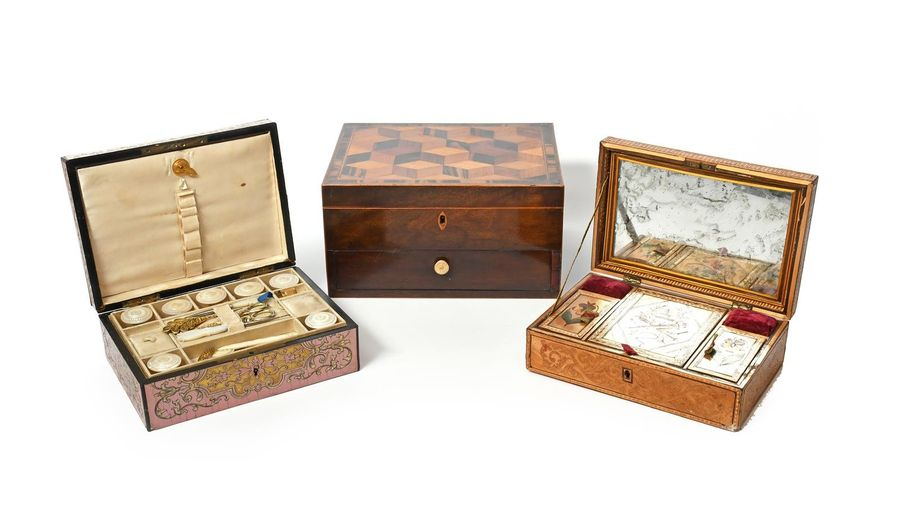 Three sewing boxes 19th century, one marquetry and veneered with a pattern of st…