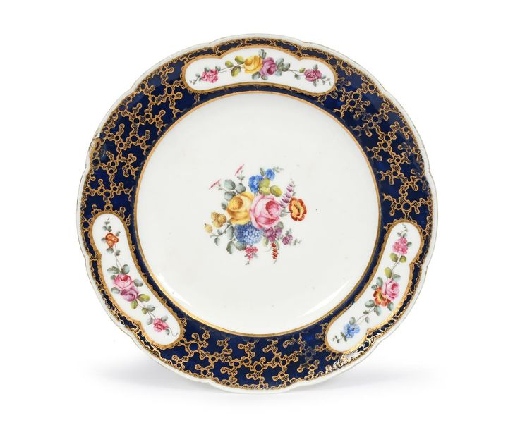 A Sèvres plate (assiette) possibly from the Bedford Service date code for 1761, …