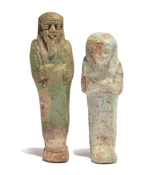 An Egyptian faience shabti Late Period, circa 664 332 BC with arms crossed and h…