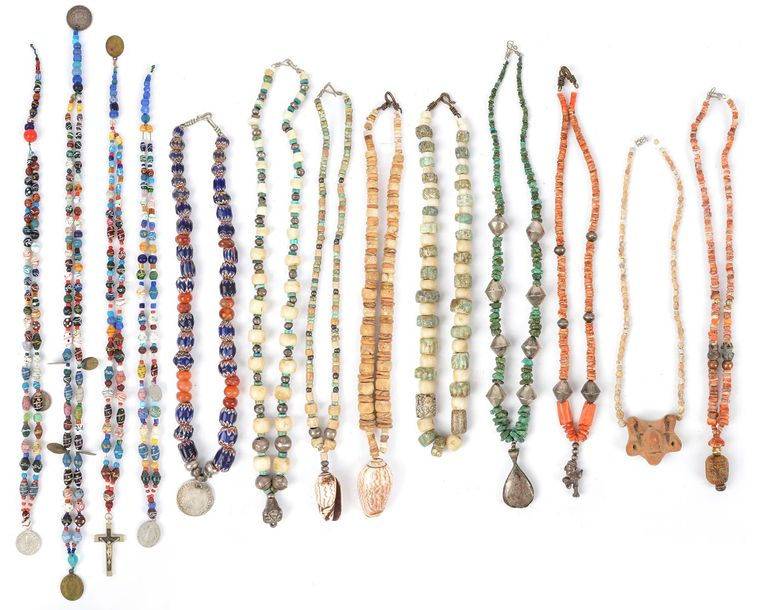 Thirteen South and Central America bead necklaces glass, stone, silver, shell, p…