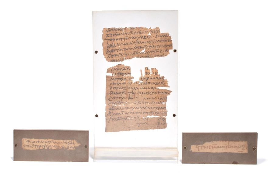 Four papyrus fragments with Greek text Ptolemaic to Roman Period, circa 4th cent…