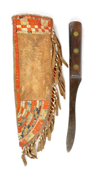 A Huron knife sheath Great Lakes hide with stained and natural quill, 19th centu…