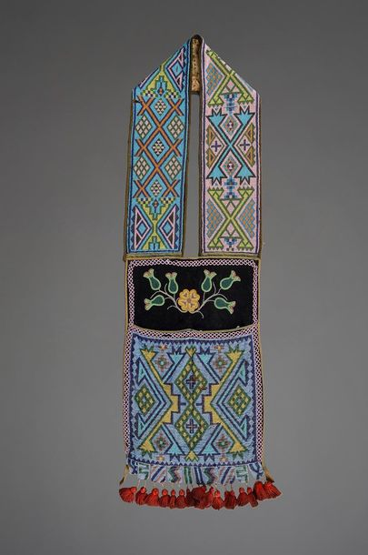 A Chippewa bandolier bag Northeast with coloured glass bead geometric decoration…