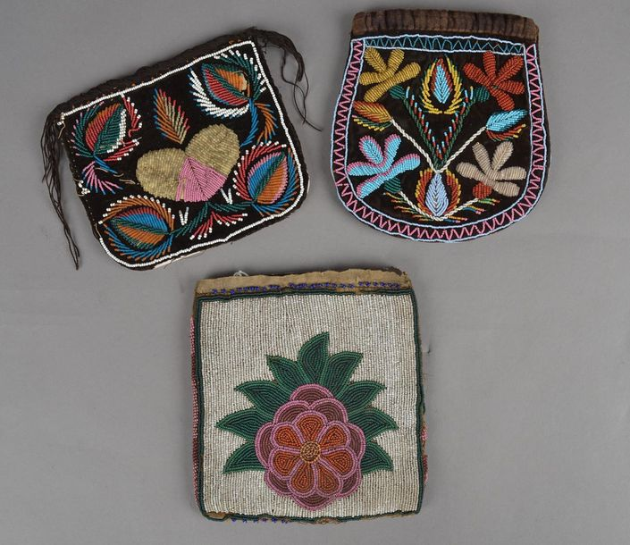 A Maliseet beaded pouch Northeast velveteen with coloured glass beads with the s…