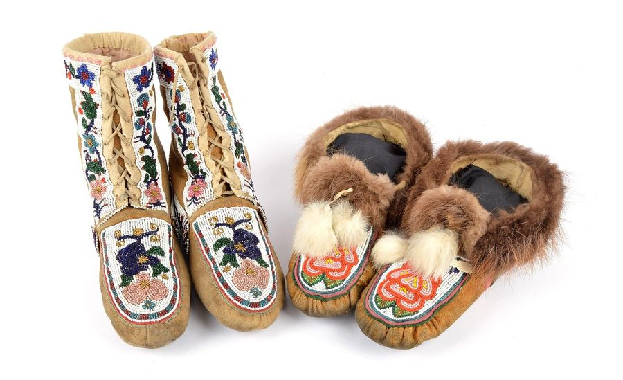 A pair of Kutchin high top moccasins Alaska hide with coloured glass and brass b…