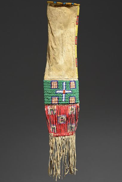 A Lakota pipe bag Plains hide, coloured glass beads and dyed quill with geometri…