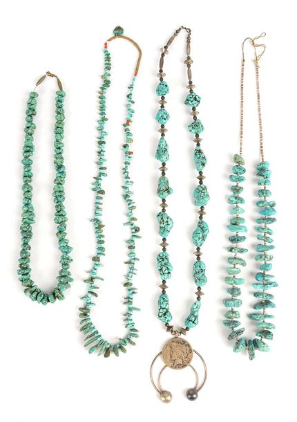 Four Navaho / Zuni turquoise necklaces Southwest North America one with an open …