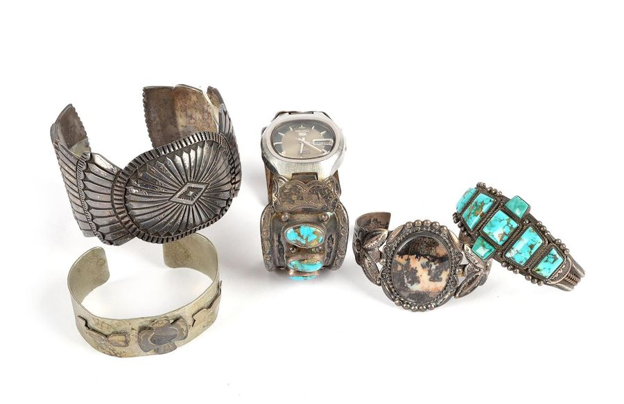 A Navaho cuff by Kenneth Bill Southwest North America 'Sterling' silver with a c…