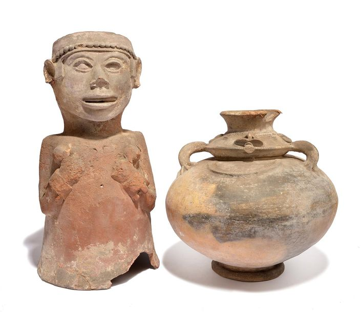 A Tairona anthropomorphic vessel Colombia, circa 800 1500 AD earthenware, the ne…