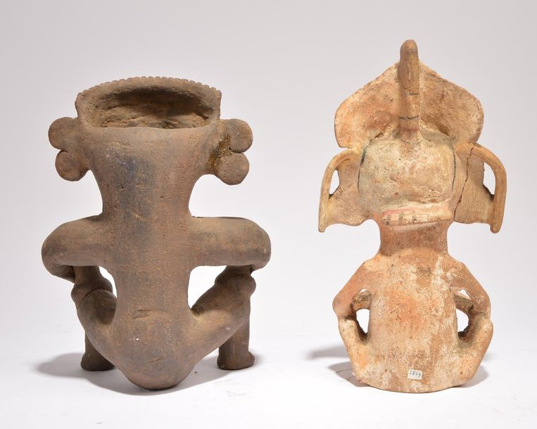 A Nayarit seated female figure vessel Mexico pottery, holding a vessel on each k…
