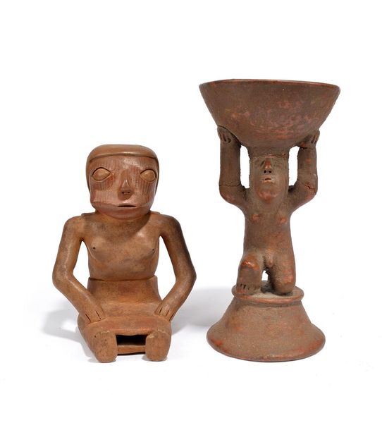 A Narino seated coca chewing female figure Colombia earthenware with an aperture…