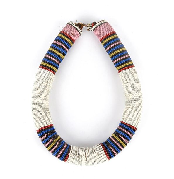 A Zulu / Ndebele beaded thick neckband South Africa coloured glass beads, fibre …