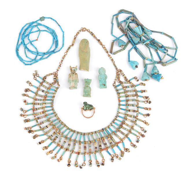 An Egyptian mummy bead necklace Late Period, circa 664 332 BC recomposed and str…