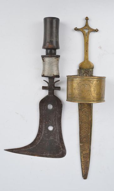 A Mangbetu knife Democratic Republic of the Congo with a pierced iron blade and …