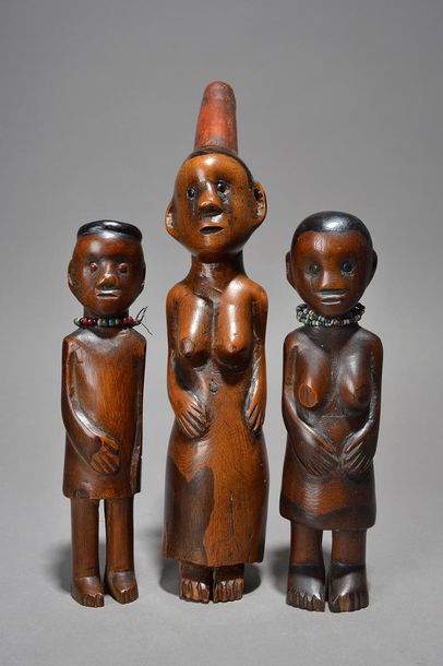 Three Zulu standing figures South Africa including a male with a head ring, bead…