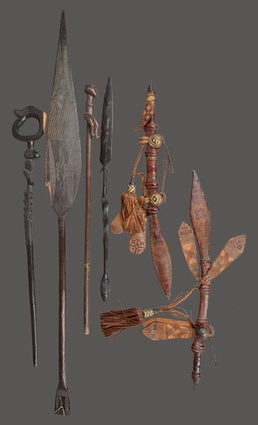 A Zulu staff South Africa with a carved seated figure terminal, 87cm long, a Zul…