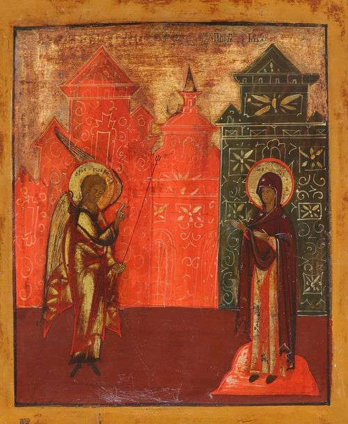 Russian School Icon of The Annunciation Inscribed in Cyrillic Tempera on panel 3…
