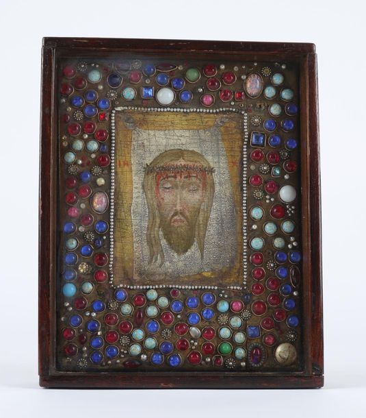 Russian School Icon of the Mandylion Tempera on panel, surrounded by gem stones …