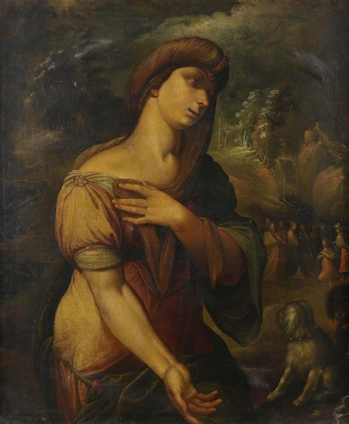 Italian School c.1640 The Canaanite woman, with Christ and the apostles beyond O…