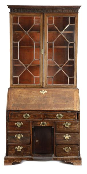 A GEORGE II AND LATER MAHOGANY BUREAU BOOKCASE THE BUREAU MID 18TH CENTURY the l…