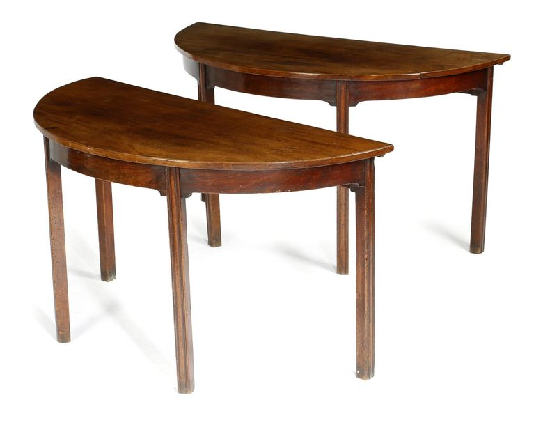A PAIR OF GEORGE III MAHOGANY CONSOLE TABLES LATE 18TH CENTURY, FORMERLY THE END…