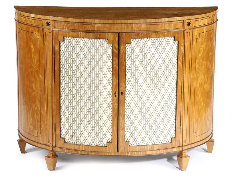 A LATE GEORGE III SATINWOOD DEMI LUNE COMMODE EARLY 19TH CENTURY inlaid with ebo…