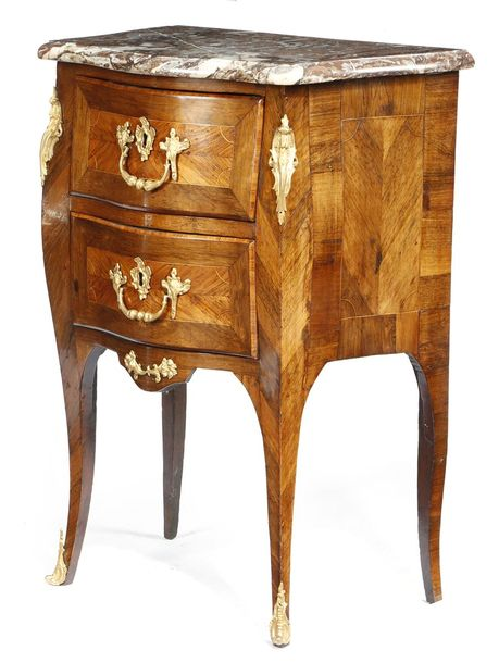 Λ A LOUIS XV ROSEWOOD AND KINGWOOD PETIT COMMODE BY JEAN CHARLES ELLAUME c.1760 …