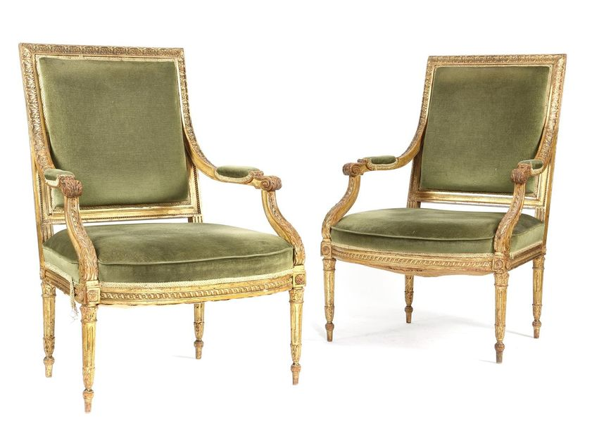 A PAIR OF GILTWOOD FAUTEUIL IN LOUIS XVI STYLE 19TH CENTURY the moulded frames c…