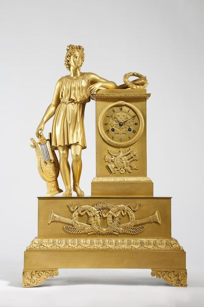 A FRENCH EMPIRE ORMOLU FIGURAL MANTEL CLOCK BY ALEXANDRE ROUSSEL, PARIS EARLY 19…