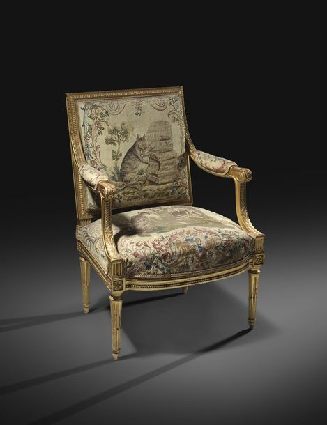A SET OF EIGHT FRENCH GILTWOOD FAUTEUILS IN LOUIS XVI STYLE AFTER A MODEL BY GEO…