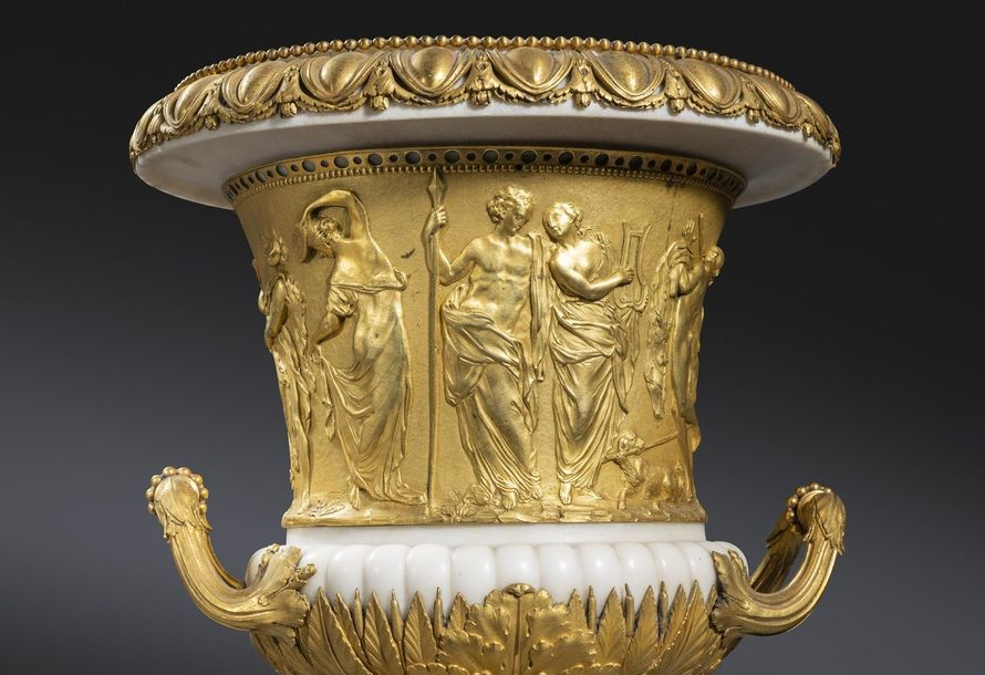 A PAIR OF FINE AND RARE FRENCH LOUIS XVI ORMOLU MOUNTED WHITE MARBLE VASES AFTER…